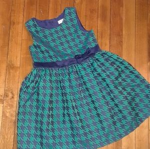 2/$15 size 6/6X girls green blue patterned dress